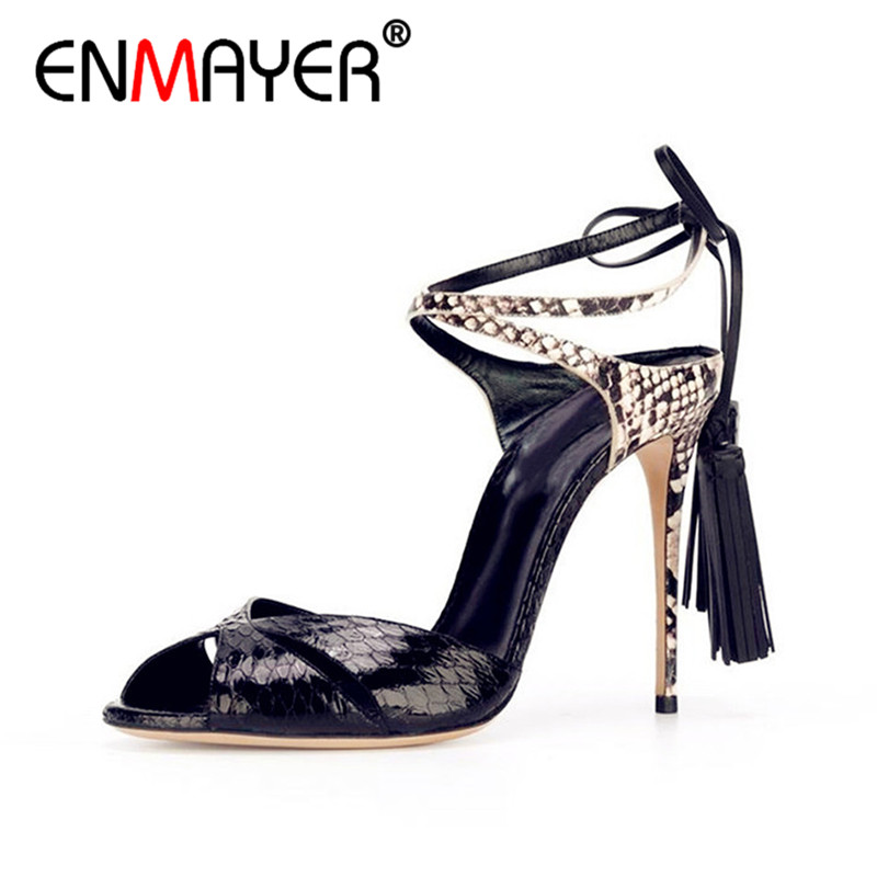 ENMAYER Summer Women Fashion Sandals Pumps Shoes Tassel Mixed Colors Peep Toe Slip-On Thin Heels Large Size 34-43 Black Yellow hotsale women solid blue flower decoration crossed style slip on sandals summer fashion high suare heel peep toe pumps free ship