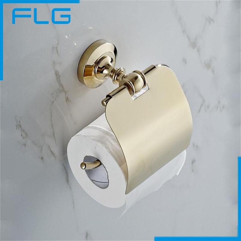 2016 New Hot Sale Wholesale and Retail Promotion Wall Mounted Golden Bathroom Roll Paper Holder Wc Toilet Paper Holder hot sale wholesale and retail promotion luxury oil rubbed bronze bathroom toilet paper holder tissue box wall mounted