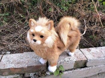 big simulation dog polyethylene & furs cute Pomeranian doll gift about 28x25cm 221