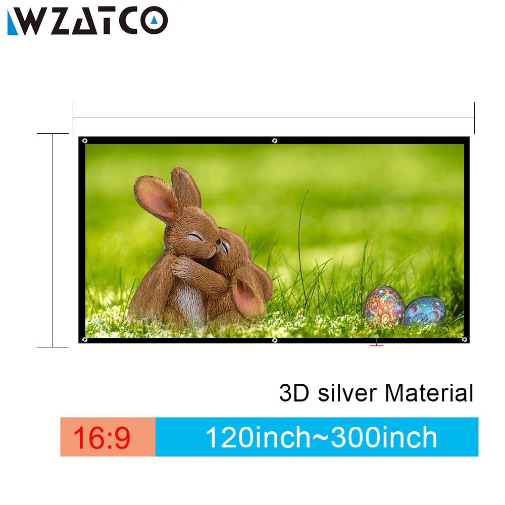 WZATCO 3D Projection Screen 250 300inch 16 9 3D Silver Screen Portable Front Without Frame Can