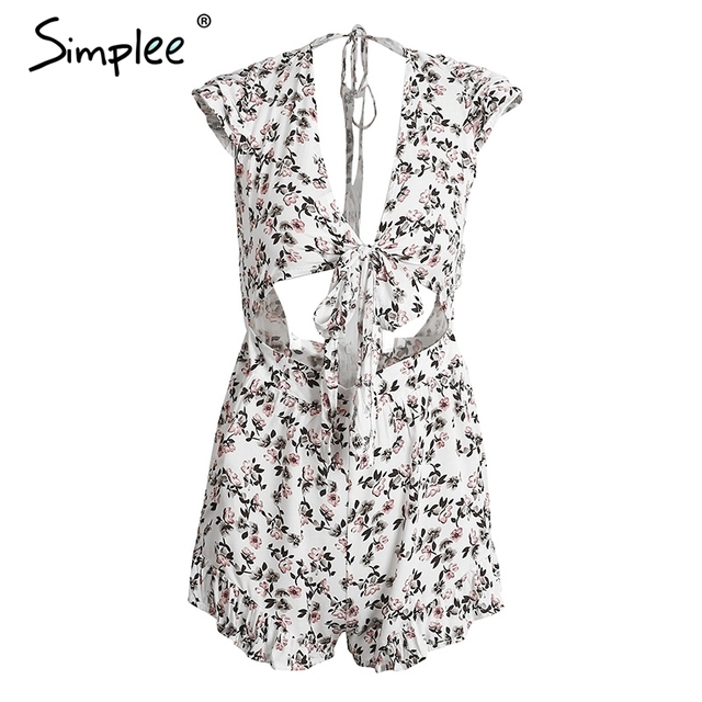 Simplee Floral print bow jumpsuit romper Ruffle backless deep v neck women jumpsuit Hollow out summer short overalls