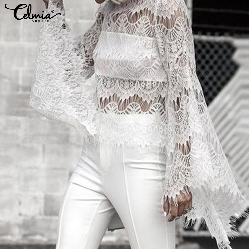 2019 Celmia Elegant White Lace   Blouse     Shirts   Women Sexy Hollow Out Embroidery Femininas Long Flare Sleeve Summer Tops Plus Size
