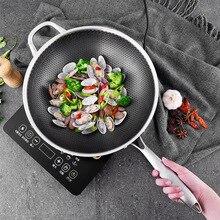 304 ВОК из нержавеющей стали без покрытия, двусторонняя пятислойная стальная сковорода, сковорода для приготовления пищи, чугунная сковорода, вок, инструменты, китайские кастрюли для приготовления пищи
