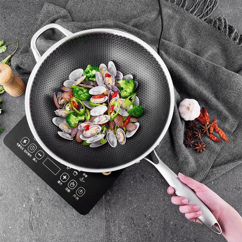 304 Não Revestido Two-sided Cinco-camada de revestimento Wok de Aço Inoxidável Wok Panela de Ferro Fundido Frigideira Panela wok de Aço ferramentas de Panelas De Cozinha Chinesa