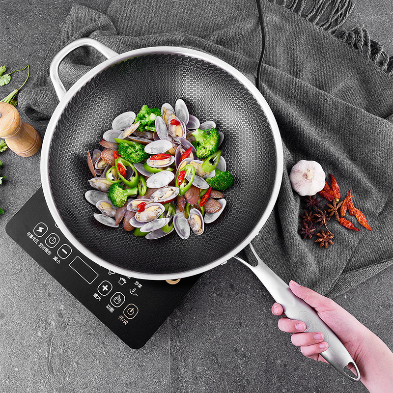 304 Stainless Steel Wok Uncoated Two sided Five layer Steel Wok Pan Cooking Pot Cast Iron Skillet Wok Tools Chinese Cooking Pots