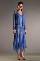 Королевский синий элегантный мать невесты чай длина 2015 жених мать платье для свадьбы ну вечеринку наряды