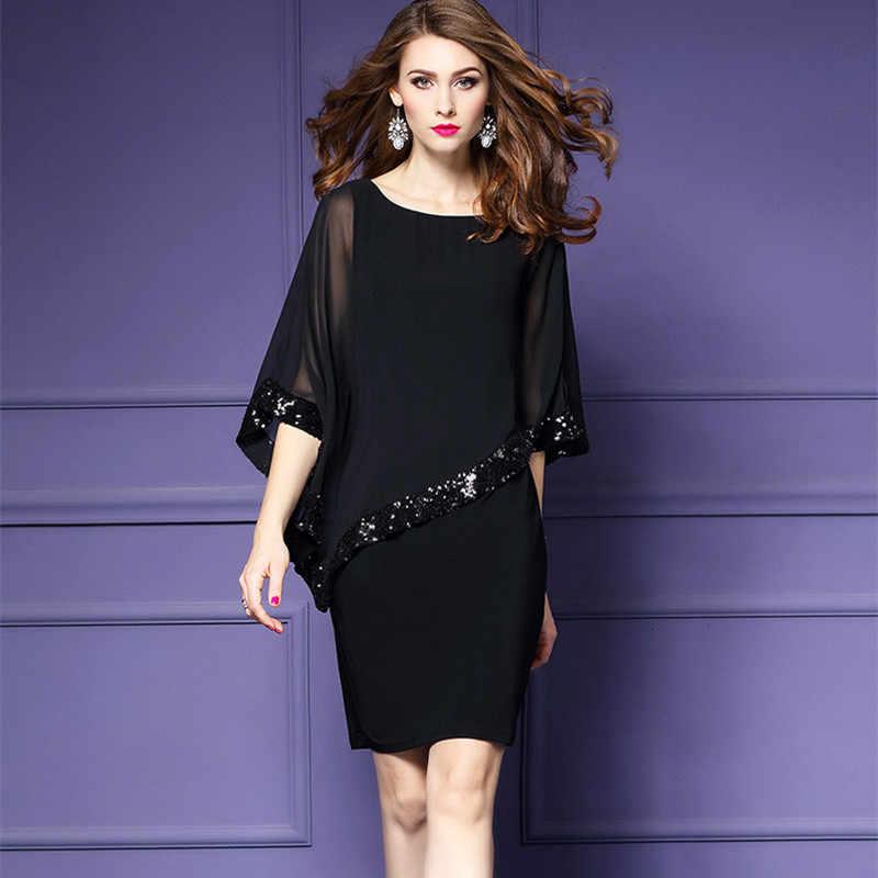 プラスサイズシフォンドレス女性の新ファッションブラックレッドスパンコール刺繍バット袖スリムドレスセクシーなナイトクラブのパーティードレス