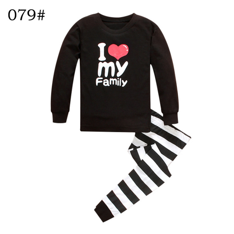 Boys girls clothing set sets i love my family heart letter for 7 year old boy shirt size