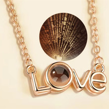 1PC One hundred language projection necklace LOVE I love you shape clavicle chain Couple birthday gift цена