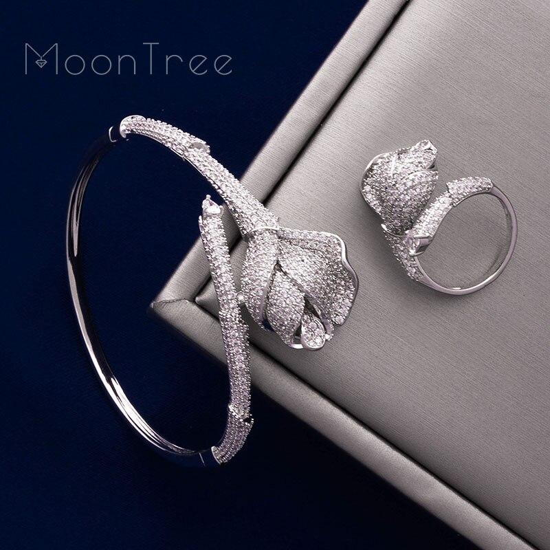 MoonTree fleur de luxe Rose Mirco pavé Microl zircone cuivre femmes fête mariage saoudien arabe Dubai bracelet bague ensemble-in Parures de bijoux from Bijoux et Accessoires    1
