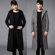 Зима осень шерстяное пальто мужской средней длины траншеи пальто тонкий вскользь пальто для мужчин casaco masculino мужские кашемировые пальто с капюшоном