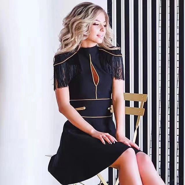 EDGLulu robe transparente fête voir à travers nouveauté designer piste haute qualitéeté 2019 anniversaire brodé robe à franges