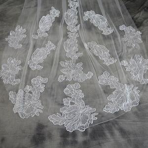 Image 2 - Voile Mariage 3M One Layer Lace White Ivory Catherdal Wedding Veil Long Bridal Veil Cheap Wedding Accessories Veu de Noiva