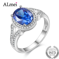 Almei 40 Off 2 2CT Gemstone Diamond Jewelry Rings With Natural Blue Topaz Stones 925 Sterling