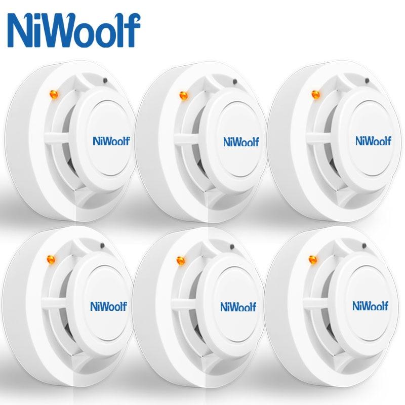 433MHz Wireless Smoke Fire Detector Smoke Sensor Alarm 6 Pcs Include, For Home Burglar Wifi GSM Alarm System,