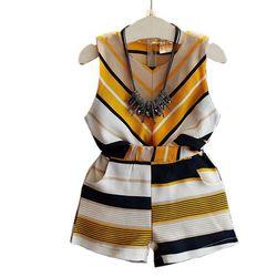 2017 neue Sommermädchen, die Sätze Baby Kleinkind Kinder Mädchen Kleidung Striped Sleeveless Bluse Tops + Kurze Hosen 2 Stücke anzug JW1809