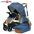 Fashion 2 in 1 Baby Stroller Pram, Pushchair + Independent Sleeping Basket, Multifunction 4 Pneumatic Wheels Baby Carriage