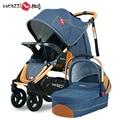 Moda 2 em 1 Carrinho De Bebê Carrinho De Bebê, carrinho de bebé + Cesta Dormir Independente, multifunções 4 Rodas Pneumáticas Carrinho de Bebê
