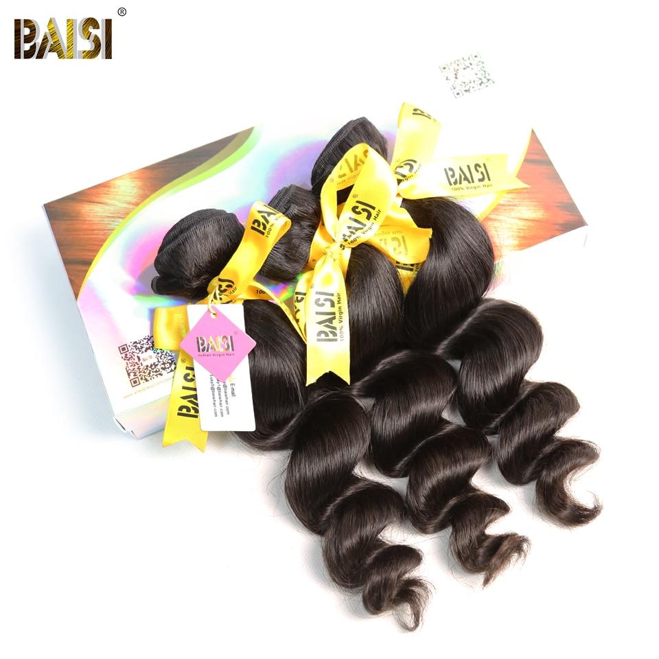 BAISI Hair Indian Loose Wave Hair 100 Human Hair Unprocessed Raw Virgin Hair 3 Bundles