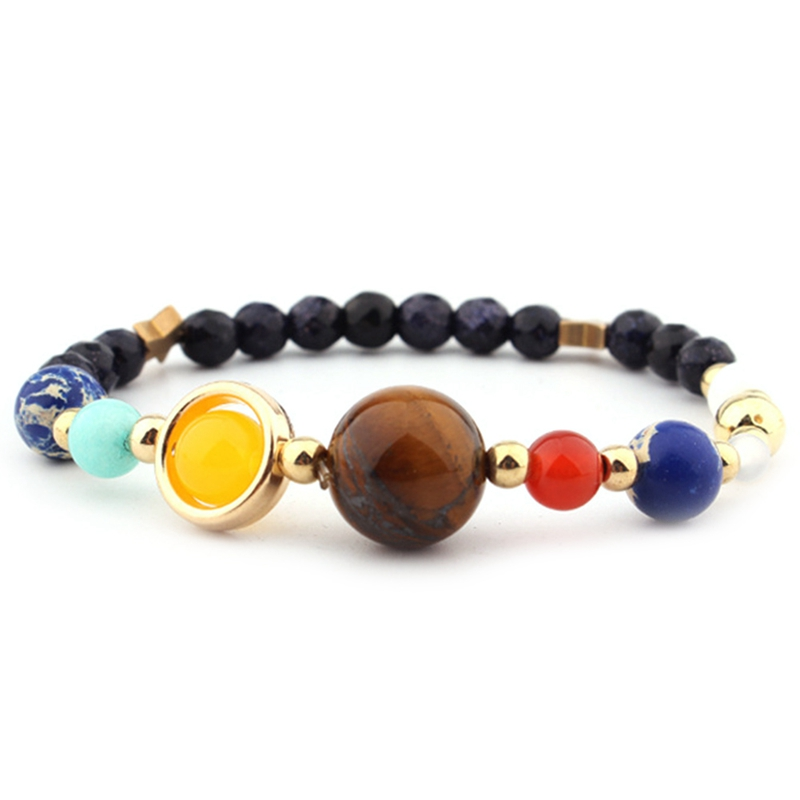 2019 Glass Beads Bangles & Bracelets Fashion Jewelry Natural Solar System Energy Bracelet For Women Or Men