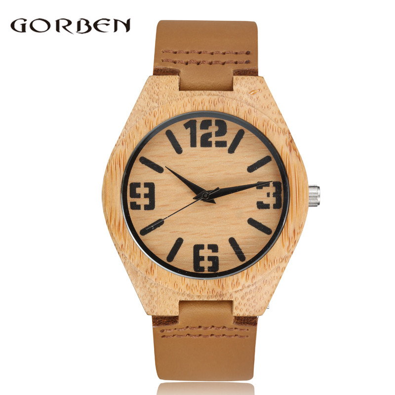 Unique Big Number Design Wood Watch Men Fashion Leather Band Simple Casual Nature Wooden Women Men Wrist Watch Relogio Masculino