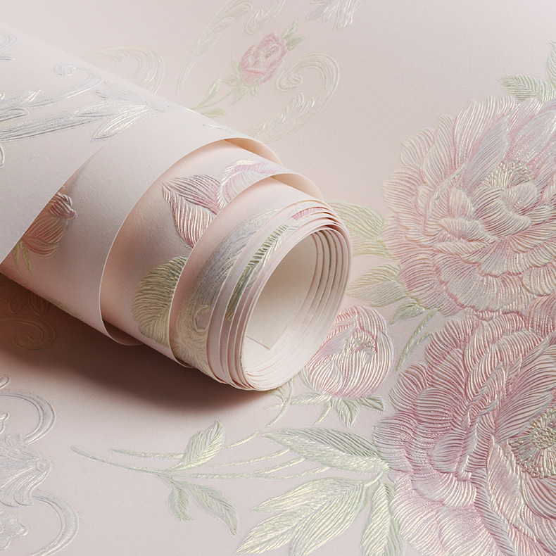 Forceful 0.53x9.5m Striped Pink Flowers Pattern Non-woven Wallpaper Wedding Room Living Room Bedroom Sofa Tv Background Wallpaper Durable In Use Wallpapers Painting Supplies & Wall Treatments