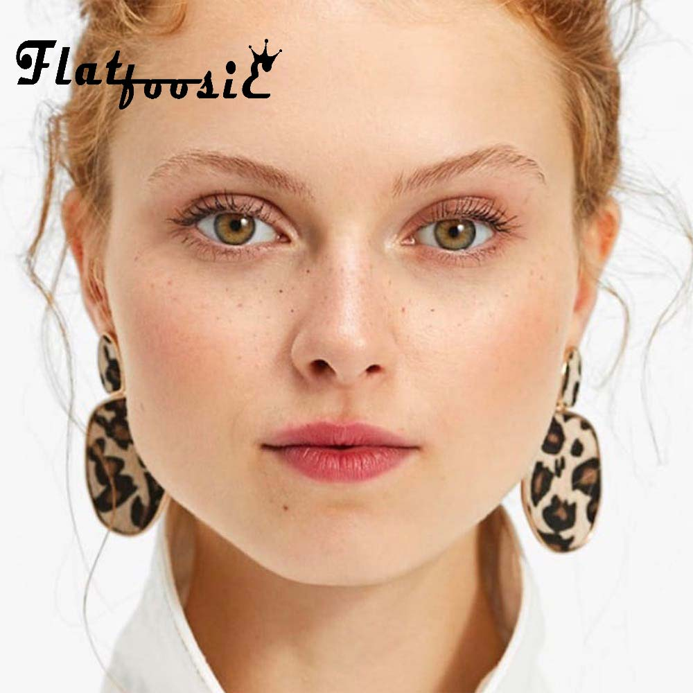 Flatfoosie Za Geometric Round Square Drop Earrings Fashion Party Women Leopard Print Long Dangle Earrings Bamboo Maxi Jewelry