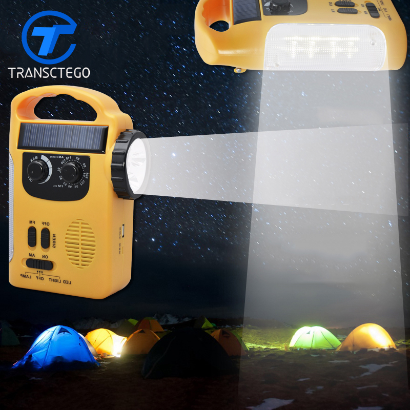 TRANSCTEGO LED Dynamo Solar LED Lights Multi Function Radio USB Charger Emergency Alarm Outdoor Camping Lamp