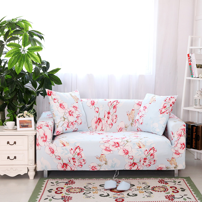Sweet Pink Floral Sofa Cover Stretch Universal Elastic Slipcover For Living  Room L Shape Sofa Protector