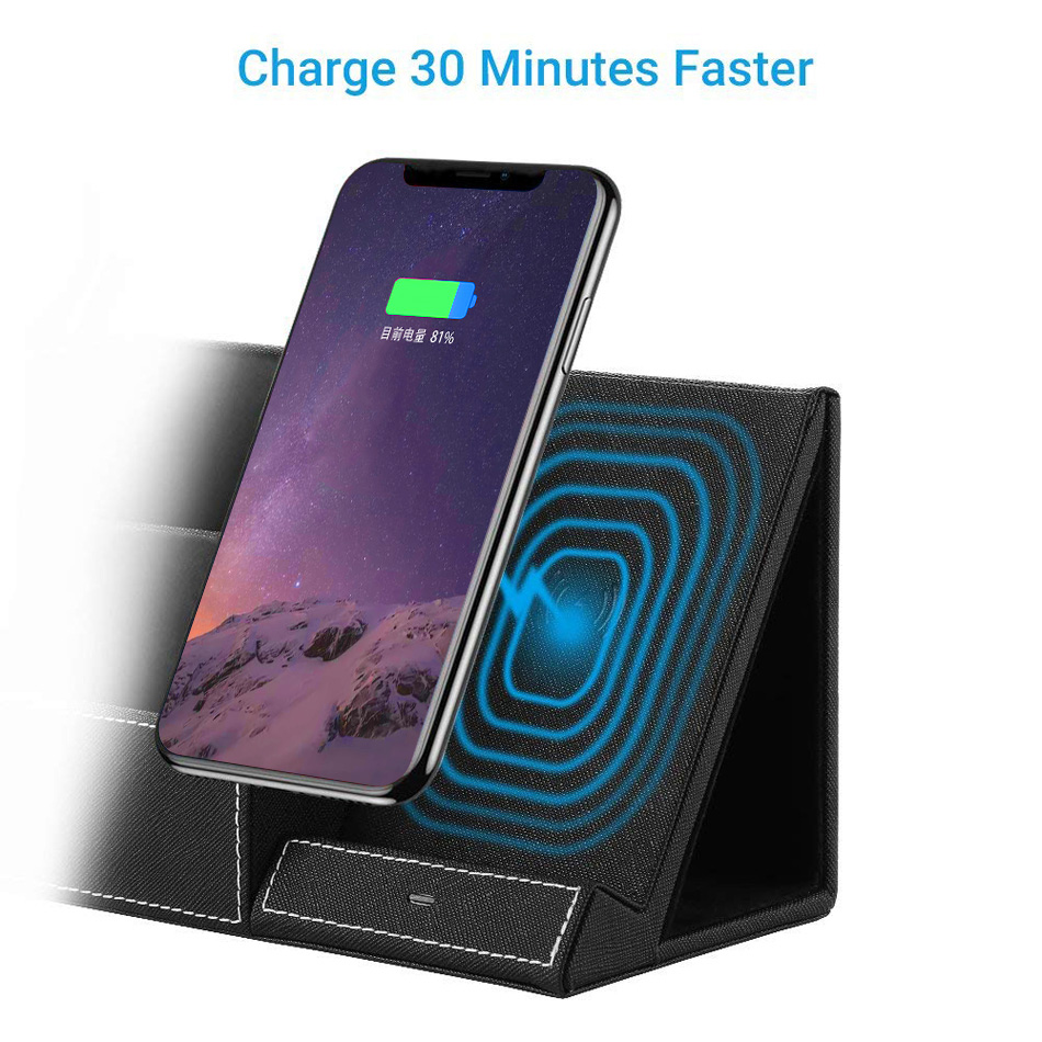 FDGAO Qi Wireless Charger Pen Holder for iPhone XS Max X XR 8 Plus Samsung  Note 9 8 S9 S8 Pencil 10W Fast Charging Phone Stand