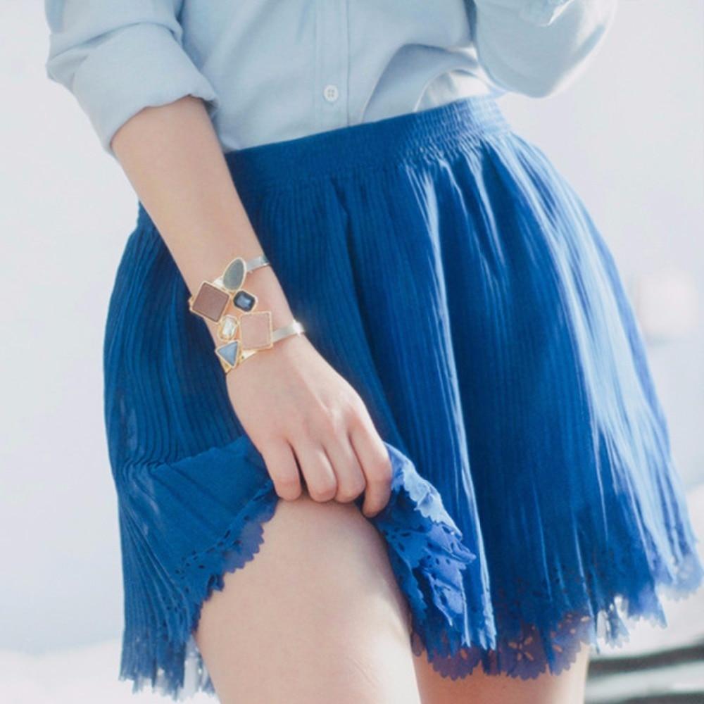 Bracelet manchette large pour femmes avec cristaux créés et pierres Bracelets et bracelets de cuivre