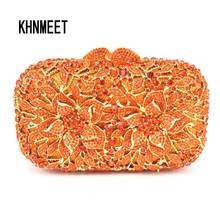 newest Orange Crystal Clutch Bag Flower Female Evening Bag Diamond Studded Handbags Women Wedding Bridal Party Prom Purse SC437