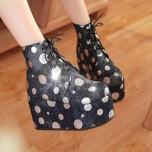 C278 autumn Spring Trend polka dot denim fabric women wedges platform ankle boots Ladies high heel boots fashion Leisure shoes