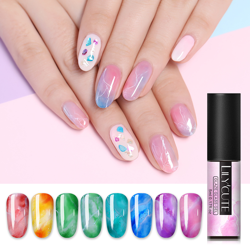 LILYCUTE 5ml Glaze Glass Gel Polish Natural Resin Soak Off UV LED Lamp Needed Manicure Nail Gel Varnish Design in Nail Gel from Beauty Health