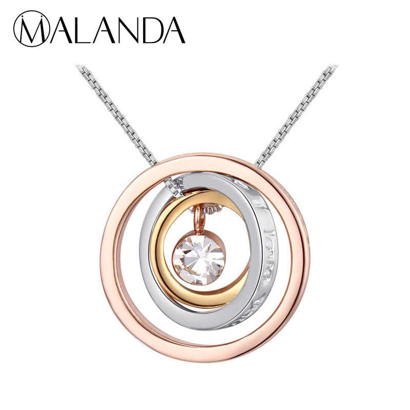 MALANDA 2018 Brand Rose Gold Color Circular Pendant Necklaces For Women Round Crystal From Swarovski Wedding Jewelry Accessories