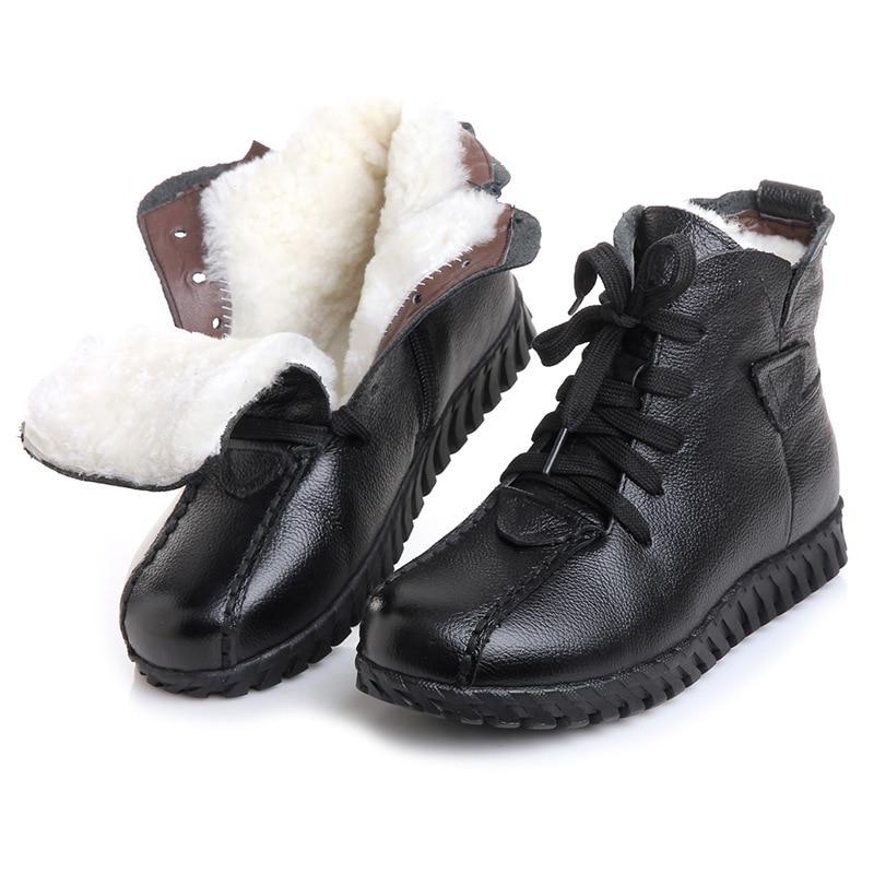 Genuine Leather Wool Warm Snow Boots Woman 2017 Winter Female Ankle Boots High Top Plush Really Fur Shoes Botas De Nieve De Lana