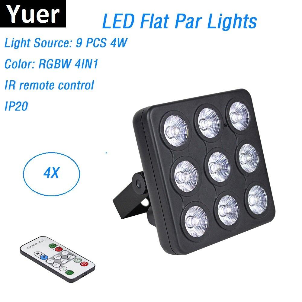 4Pcs/Lot Free Shipping LED Show Panel 9X4W RGBW Quad Color Luce della lavata di Lusso Controller DMX Led Flat Par Luci dj Discos|Stage Lighting Effect| |  - title=