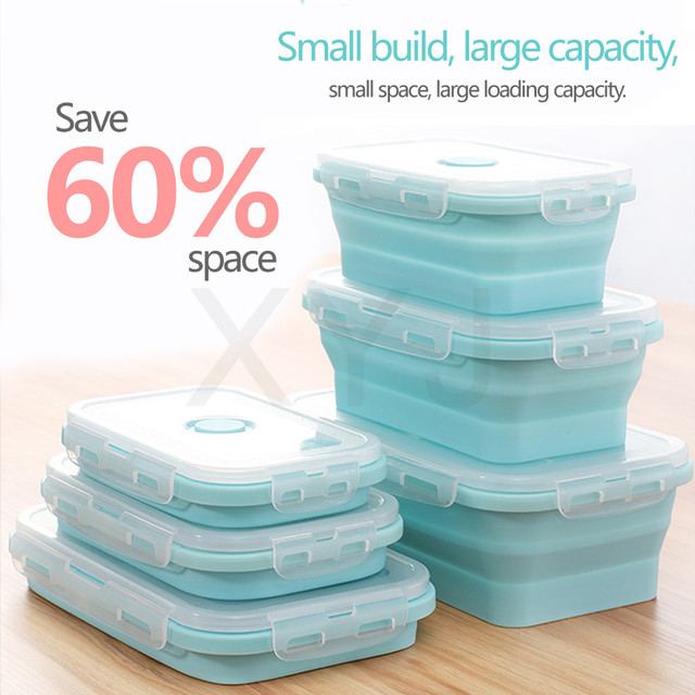 XYj Eco-Silicone Food Container 4 PCS Set Collapsible Picnic Lunchbox Food Case Outdoor Camping Food Storage Bento Box Children
