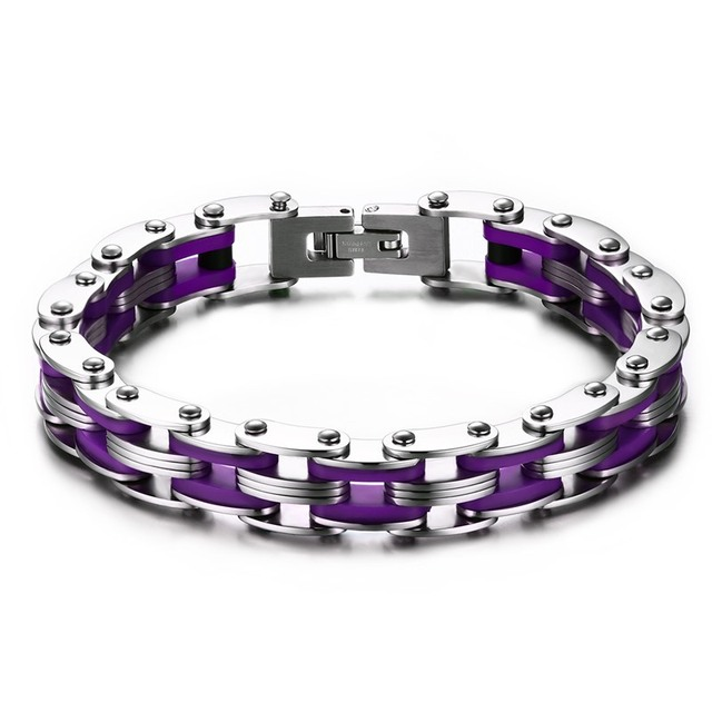 Fashion Black/White/Purple Stainless Steel Silicone Bracelet Hand Belt Bangle Cool Men Accessories Pulseras SMT0096
