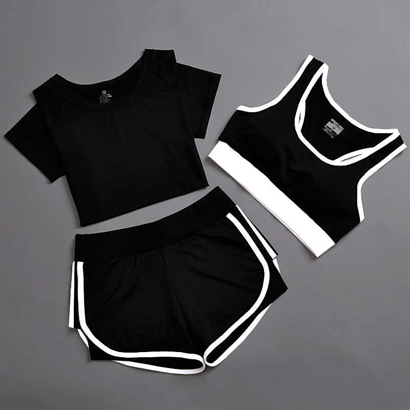 3pcs Sports Suit Women Yoga Set Solid Top and Shorts Breathable Sweat Running Fitness Sport Wear Women Sleeveless Yoga Romper marled loose top and high waisted shorts women s twinset