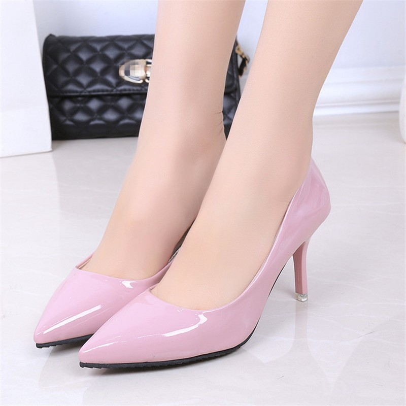 2016 Fashion Hot sale 5 colors PU Leather Pointed Toe High Heels Sexy shoes Office Shoes Women\'s Pumps HSB06 (13)