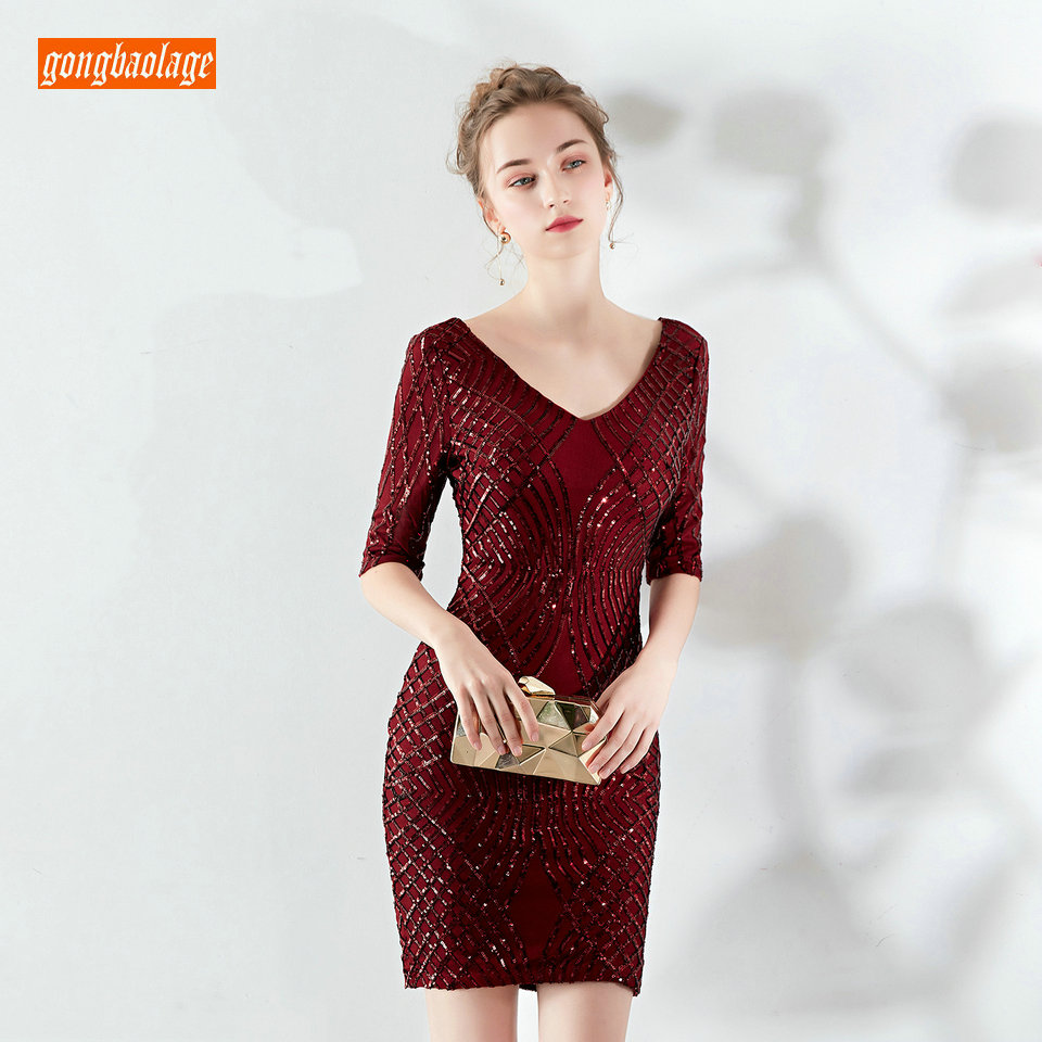 fashionable Burgundy Cocktail Dresses 2019 Red Formal Dress Scoop Sequined Zipper Knee Length Slim Fit Banquet Women Party Gowns