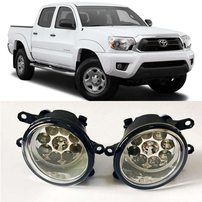 Car-Styling For Toyota Tacoma 2012 2013 2014 2015 9-Pieces Leds Chips LED Fog Head Lamp H11 H8 12V 55W Halogen Fog Lights fog light set 12v 55w car fog lights lamp for toyota hiace 2014 on clear lens wiring kit free shipping