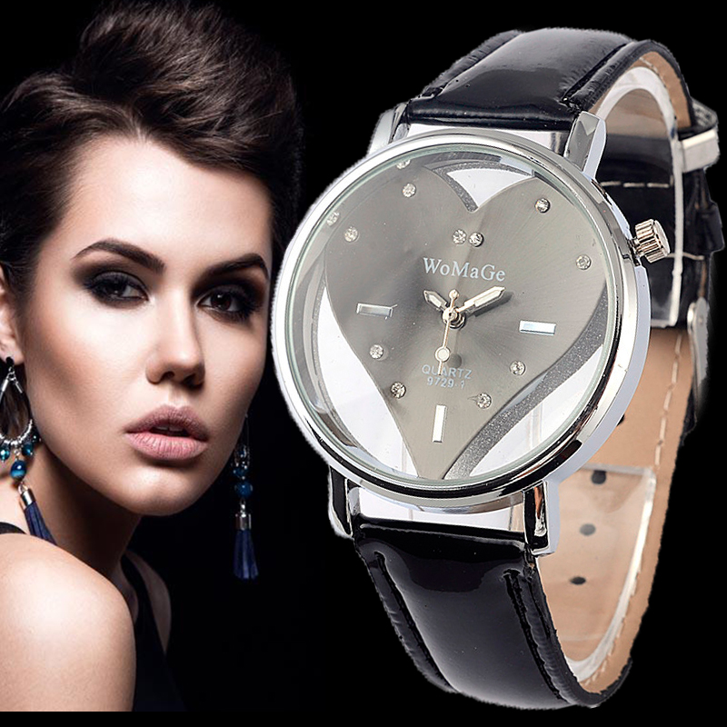 Women WoMaGe Brand Watch Exquisite Peach Heart Watches Casual Leather WristWatch Black Female Ladies Watches Clock montre femme