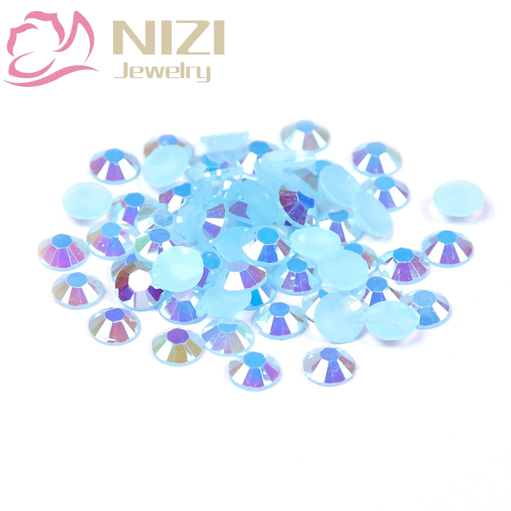 SMART COLOR Nail Art Decoration One-stop Shopping Store 1000pcs 2-5mm And Mixed Sizes Light Blue AB Resin Crystal Strass Nail Art Rhinestones Non Hotfix 3D Nail Art Design Decorations