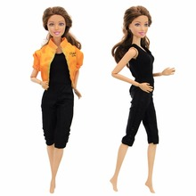 Handmade Sport Outfit Casual Daily Wear Yellow Coat Jacket Black Tigh  Jumpsuits Tops Clothes For Barbie 99319d634ec6