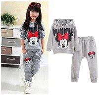 Kids Girls Mickey Cartoon Autumn Cotton Casual Tracksuits Children Kids Clothing Sports Suit 2pc Set
