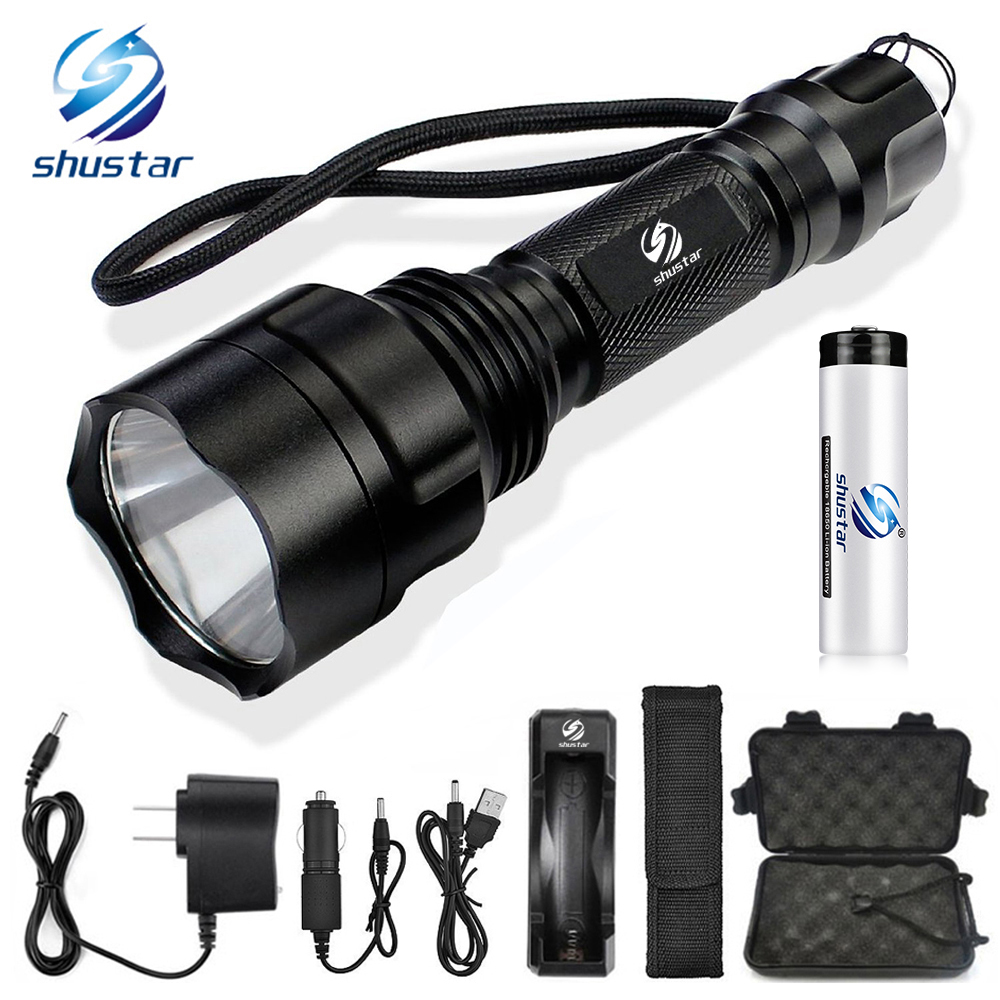 LED Flashlight T6/L2 Torch 8000Lumens for Riding Camping Hiking Hunting & Indoor Activities with 18650 battery+charger bike light 3800lm t6 led flashlight tactical flashlight led torch lamp light 18650 battery charger holder hiking camping