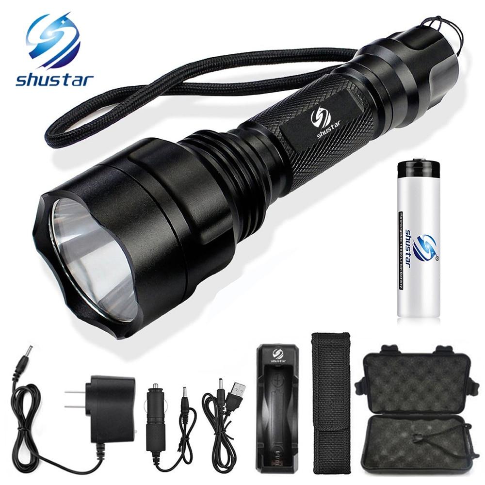 LED Taschenlampe T6/L2 Taschenlampe 8000 Lumen für Reiten Camping Wandern Jagd & Indoor Aktivitäten mit 18650 batterie + ladegerät