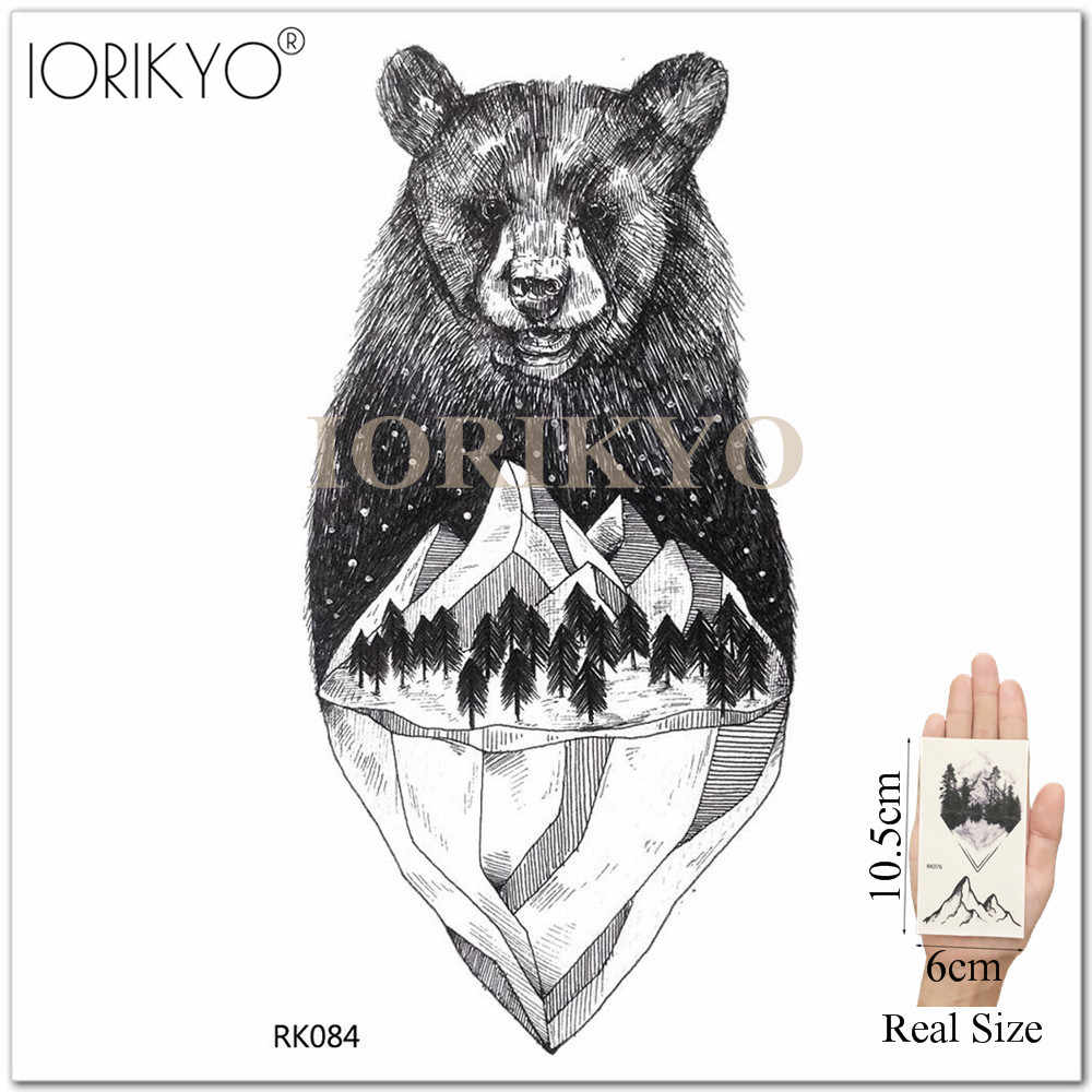 Iorikyo Galaxy Fox Temporary Tattoo Men Cool Arm Bear Hill Tattoo Stickers Women Body Art Painting Wolf Fake Diy Tatoos Skull
